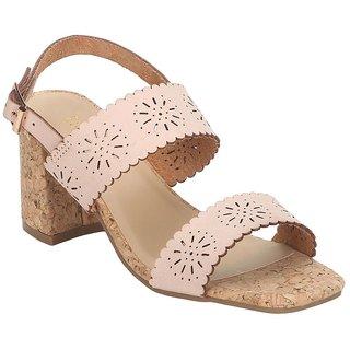 Estatos Leather Pink Mesh Style Buckle Closure Broad Strap Block Heel
