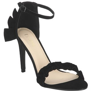 Estatos Suede Black Buckle Closure Ankle Strap Open Toe Pointed Stilettos