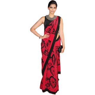 Shree Rajlaxmi Sarees Red Art Silk Printed Saree With Blouse