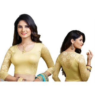 32164176b06d8f Buy k g fashions gold colour Readymade 3 4 sleeve blouse with back ...