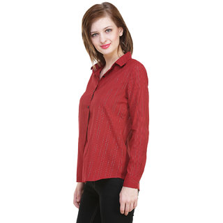 Hive91  Women Striped Casual Red Shirt