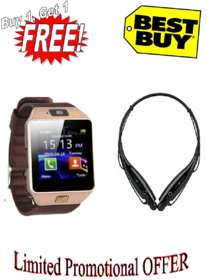 4G Phone campatible bluetooth Smart watch with free wireless bluetooth Headset combo(Assorted color)