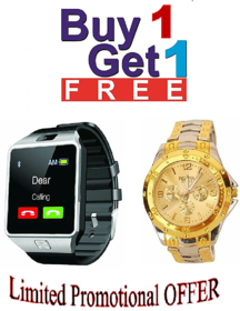 4G Phone campatible bluetooth Smart watch dz09 with free Rosra wrist- watch combo