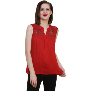 Hive91 Casual Sleeveless Solid Women's Red Top