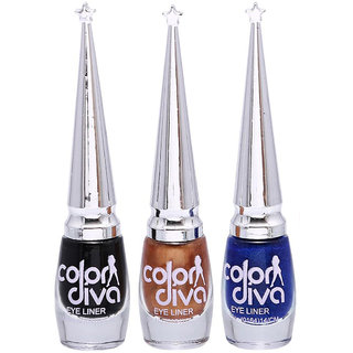 Colordiva Eyeliner Black Golden Blue Pack Of 3