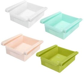 Multipurpose set of 4 Plastic Storage Shelf Holder Box Sliding Multicolor Fridge Organizer