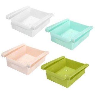AVMART Multipurpose set of 4 Plastic Storage Shelf Holder Box Sliding Multicolor Fridge Organizer