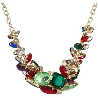 Fayon Fashion Statement Colorful Geometric Rhinestone Chain Necklace
