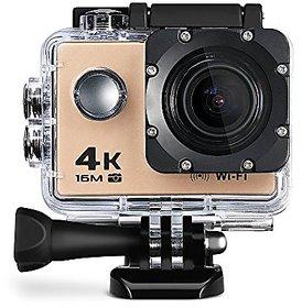 Digital Sports Camera 30m Waterproof Ultra-HD Helmet Camera 17 Accessories with Built-in Mic 4K 16Mp 1080P 60fps, 2 Inch Display - Golden