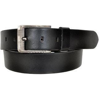 A S Leather Black Grain Leather Men's Belt (LB-0025) (Synthetic leather/Rexine)