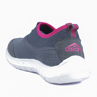 0486f4a2bfc3fb Buy Asian Pink & Gray Slip On Sports Shoes For Women Online - Get 8% Off