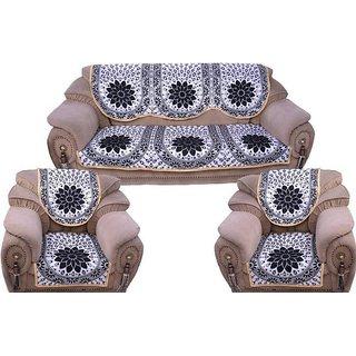 Manvi Creation Black Silver sofa cover