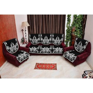 Manvi Creations Floral Black Sofa Cover