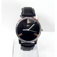 QSI Round Dial Black Leather Strap Men Quartz Watch For