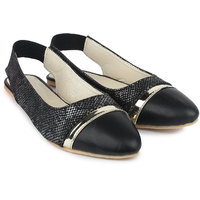 Do Bhai Women's Black Flat