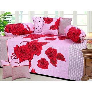Manvi Creation Cotton  Pink Floral Diwan Set