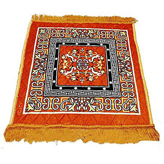UrBuddy Traditional Jute Filling Velvet Pooja Aasan, Prayer Mat (Golden)