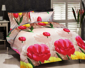 Designer 3D Print Polyester Double Bed Sheet With 2 Pillow Covers