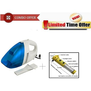 Special Combo Offer! Car Vacuum Cleaner With LED Flashlight Alarm Hammer Torch - CRVCRTORH