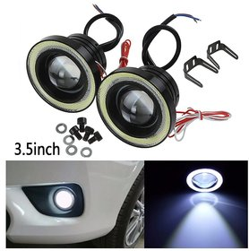 Uniqstuff 3.5 MM 15w White Car Fog Lights Projector Lamp Bumper Halo Angel Eyes Ring Drl