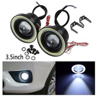 Uniqstuff 3.5 MM 15w White Car Fog Lights Projector Lamp Bumper Halo Angel Eyes Ring Drl