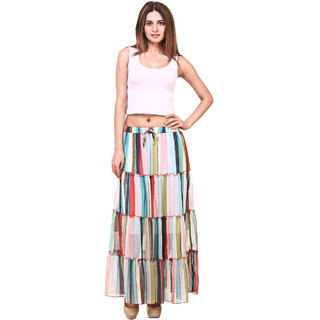 Hive91 Printed Women's Tiered Multicolor Skirt