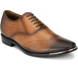 Hitz Mens Tan Original Leather Oxford Formal Shoes