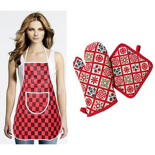 3 Pcs Kitchen Set - Apron, Gloves  Pot Holder (Assorted Design  Color)