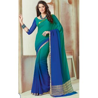 Subhash  Blue Plain Chiffon Saree For Women