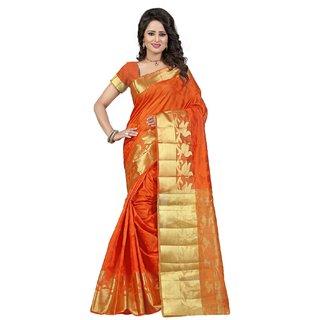 Subhash  Orange Plain Banarasi Cotton Silk Saree For Women