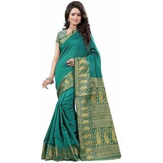 Subhash  Beige Plain Banarasi Cotton Silk Saree For Women