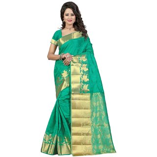 Subhash  Green Plain Banarasi Cotton Silk Saree For Women
