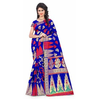 Subhash  Multicolor Plain Banarasi Cotton Silk Saree For Women