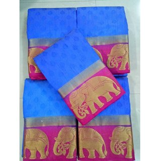 Subhash  Multicolor Plain Silk Cotton Saree For Women