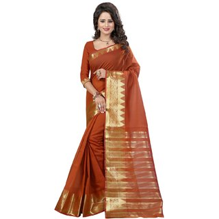 Subhash  Brown Plain Banarasi Cotton Silk Saree For Women