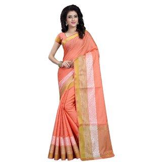 Subhash  Pink Plain Banarasi Cotton Silk Saree For Women