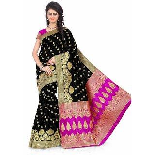 Subhash  Black Plain Banarasi Cotton Silk Saree For Women