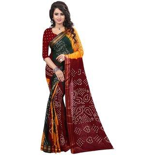 Subhash  Multicolor Plain Bhandhani Cotton Silk Saree For Women