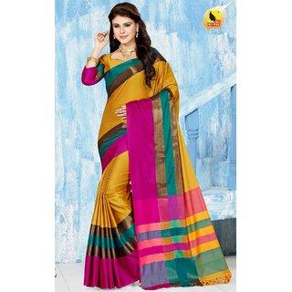 Subhash  Yellow Plain Silk Cotton Saree For Women