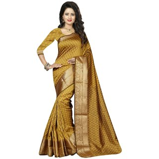 Subhash  Gold Plain Georgette Saree For Women
