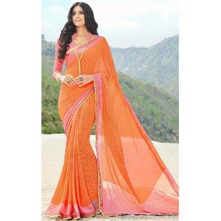 Subhash  Orange Plain Synthetic Georgette Saree For Women