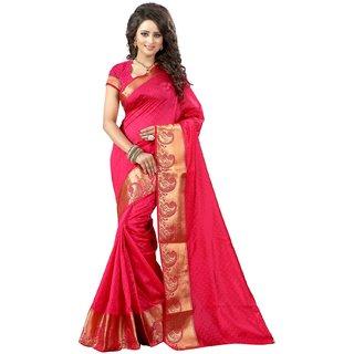 Subhash  Pink Plain Georgette Saree For Women
