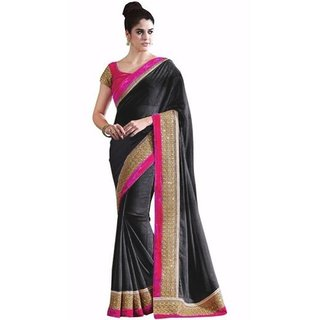 Subhash  Black Plain Georgette Saree For Women