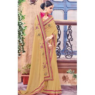 Subhash  Grey Plain Synthetic Georgette Saree For Women