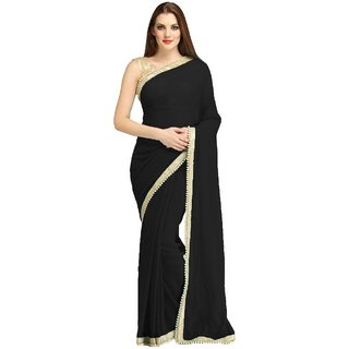 Subhash  Black Plain Georgette Saree For Women