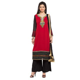 Subhash  Red Plain Georgette Saree For Women