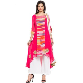Subhash  Pink Plain Faux Georgette Saree For Women