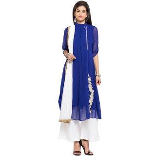Subhash  Dark Blue Plain Faux Georgette Saree For Women