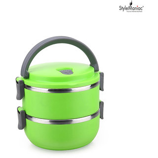 Style Maniac fresh 2 layers Portable Stainless Steel and Thermal Insulation Lunch Box (Multi color)