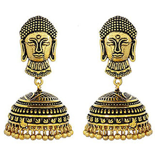 Indian Oxidized Golden Tribal Bohemian Fashion Earrings for Women and Girls By Krivi